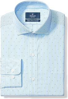 "Buttoned Down Men's Classic Fit Cutaway-Collar Pattern Non-Iron Dress Shirt, Light Blue Stripe Dot, 18"" Neck 37"" Sleeve (Big and Tall)"