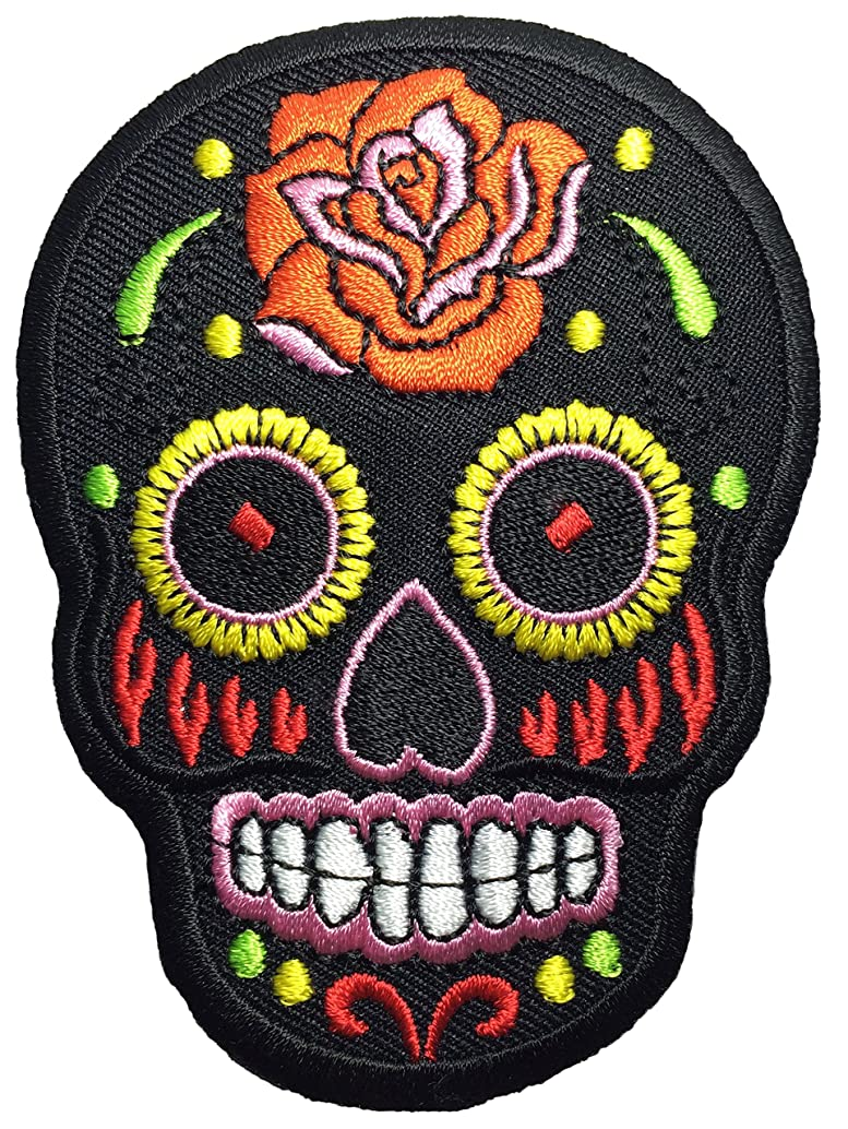 Papapatch Mexican Sugar Skull Tattoo Dead Head Biker DIY Embroidered Applique Sew on Iron on Patch - Black (IRON-MEXI-01-BK)