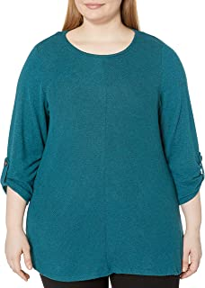 AGB Women's Plus Size Roll Tab Sleeve Top