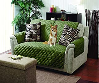 Home Details Quilted Reversible Furniture Protector Slipcover, Good for Dog Hair, Dust & Spills, Machine Washable, Love Seat, Sage-Olive