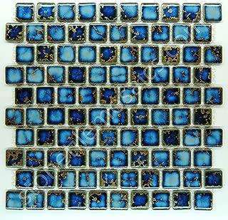 Square Tile Blue Calacatta Porcelain Mosaic 1-1/8