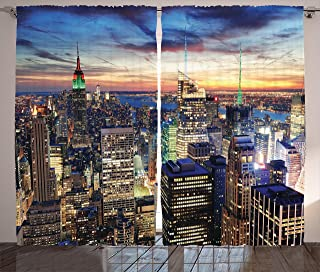 Ambesonne New York Curtains, Skyline of NYC with Urban Skyscrapers at Sunset Dawn Streets USA Architecture, Living Room Bedroom Window Drapes 2 Panel Set, 108