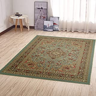 "Ottomanson Ottohome Collection Persian Heriz Oriental Design with Non-Skid (Non-Slip) Rubber Backing Area Rug,  Sage Green/Aqua Blue,  39"" L x 60"" W"