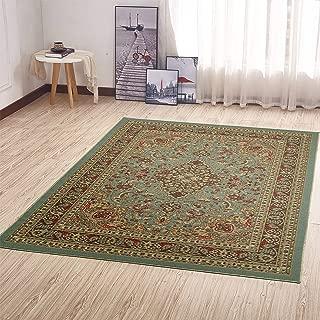 Ottomanson Ottohome Persian Heriz Oriental Design with Non-Skid Rubber Backing Area Rug, Sage Green/Aqua Blue, 3.60