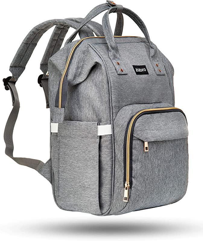 Zuzuro Diaper Bag Backpack Waterproof W Large Capacity Multiple Pockets For Organization Ideal For Travel Nappy Bags W Insulated Bottle Pocket 2 Stroller Hooks Incl Silver Gray