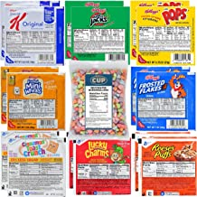 Kellogg's & General Mills Cereal Bowl Variety - Apple Jacks, Mini Wheats, Corn Pops, Special K, Frosted Flakes, Cinnamon Toast Crunch, Lucky Charms, Reese's Puffs + 1 Bag of Cereal Marshmallows