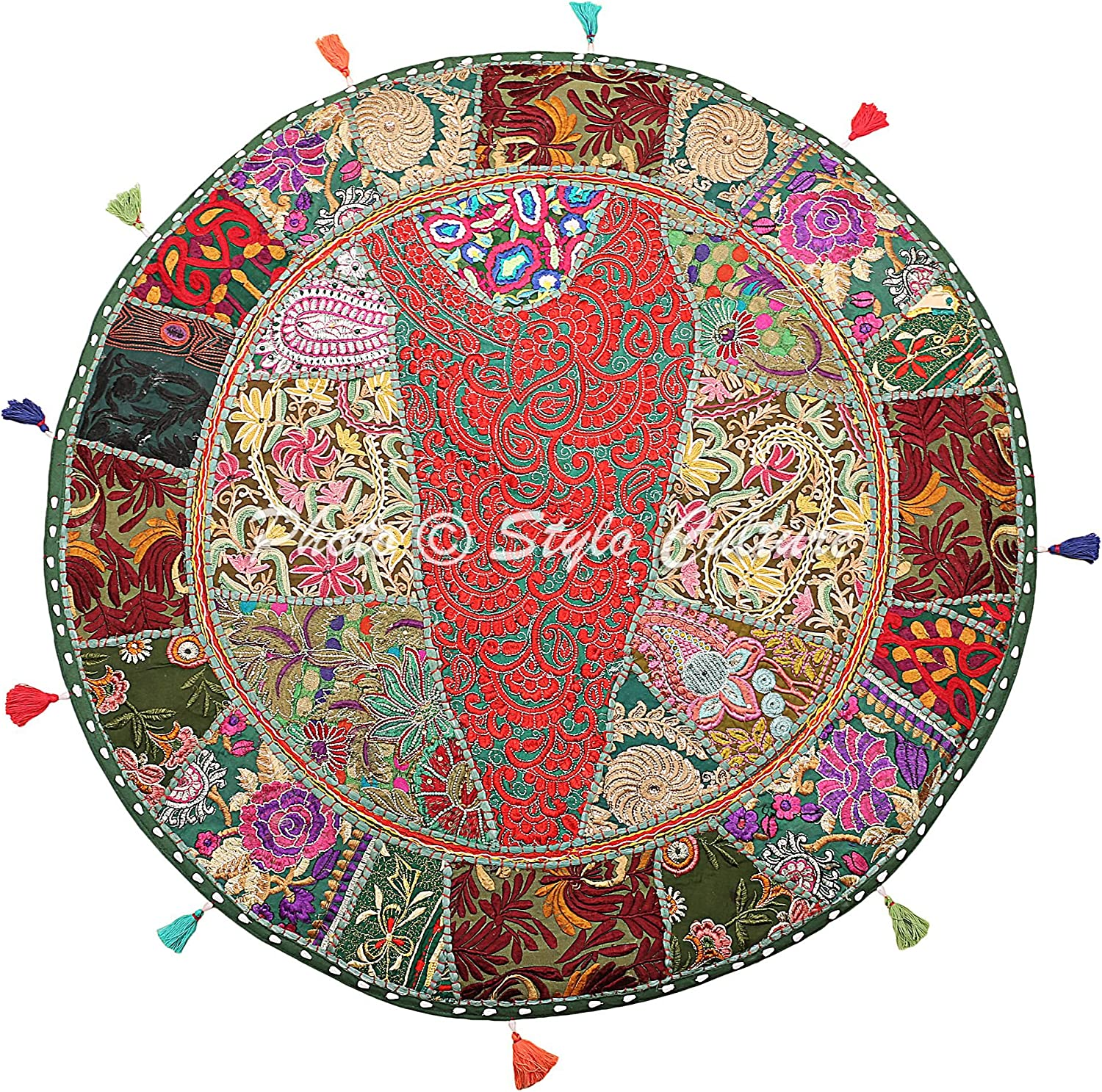 Stylo Culture Ethnic Topics on TV Round Floor Cover Patchwork Vintage Max 47% OFF Cushion