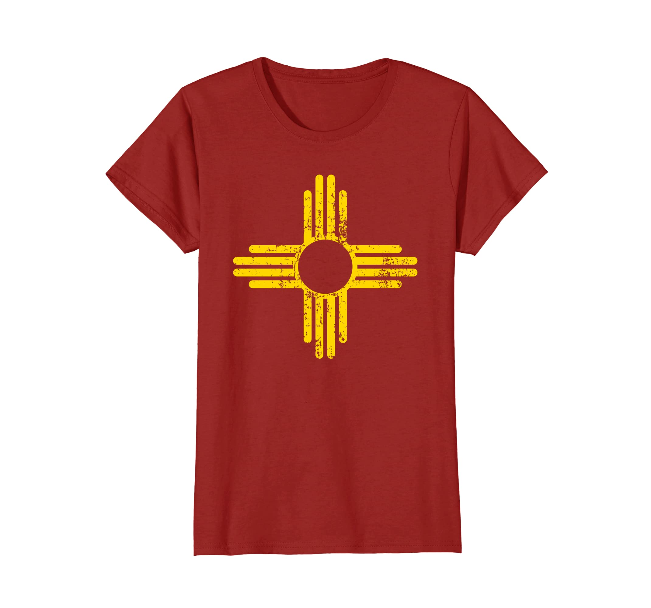 27c887ea3 Amazon.com: New Mexico Flag Shirt Distressed Yellow Zia Sun Alone Shirt:  Clothing