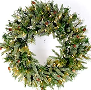 "26"" Mountain Fir & Pine Needle Wreath (30"" Fully Opened) Pre-Lit with 100 Clear Lights, 120v Plug-in, Indoor/Outdoor, Select Mini Pine Cones, Mimics Texture & Color of Natural, Freshly Cut Needles"