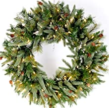 """26"""" Mountain Fir & Pine Needle Wreath (30"""" Fully Opened) Pre-Lit with 100 Clear Lights, 120v Plug-in, Indoor/Outdoor, Select Mini Pine Cones, Mimics Texture & Color of Natural, Freshly Cut Needles"""