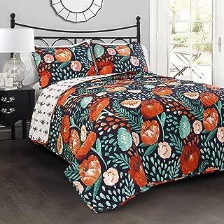 Lush Decor 3 Piece Poppy Garden Quilt Set, King, Navy