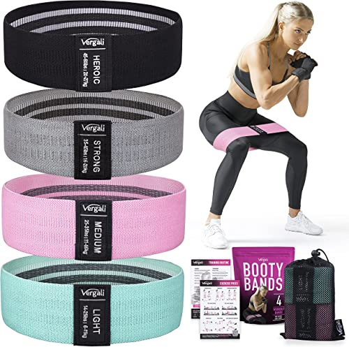 Vergali Fabric Booty Bands for Women Butt and Legs. Set of 4 Non Slip Cloth Resistance Working Out Band for Glute, Th...