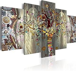 murando - Cuadro en Lienzo 200x100 cm Impresión de 5 Piezas Material Tejido no Tejido Impresión Artística Imagen Gráfica Decoracion de Pared Arbol Bosque Abstracto Klimt l-A-0005-b-n
