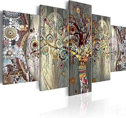 murando - Cuadro 225x112 cm - impresión de 5 Piezas - Material Tejido no Tejido - impresión artística - Imagen gráfica - Decoracion de Pared - Arbol Bosque Abstracto Klimt l-A-0005-b-n