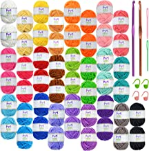 Mira Handcrafts 50 Acrylic Yarn Skeins, 2 Crochet Hooks, 2 Plastic Needles, 4 Stitch Markers, 7 E-Books-Ideal Knitting and...
