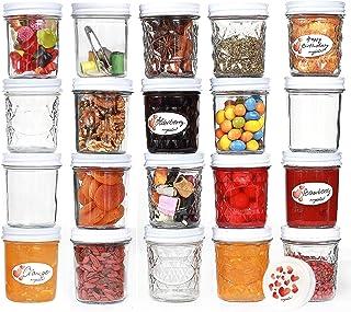 megusta!® Lot de 20 bocaux 200 ml en verre transparent avec couvercle motif cœur + 20 étiquettes - pour confiture, épices,...