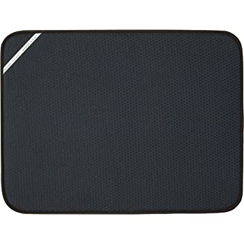 Envision Home 432801 Absorbent Reversible Microfiber Dish Drying Mat for Kitchen, X-Large, 18 Inch x 24 Inch, XL, Black