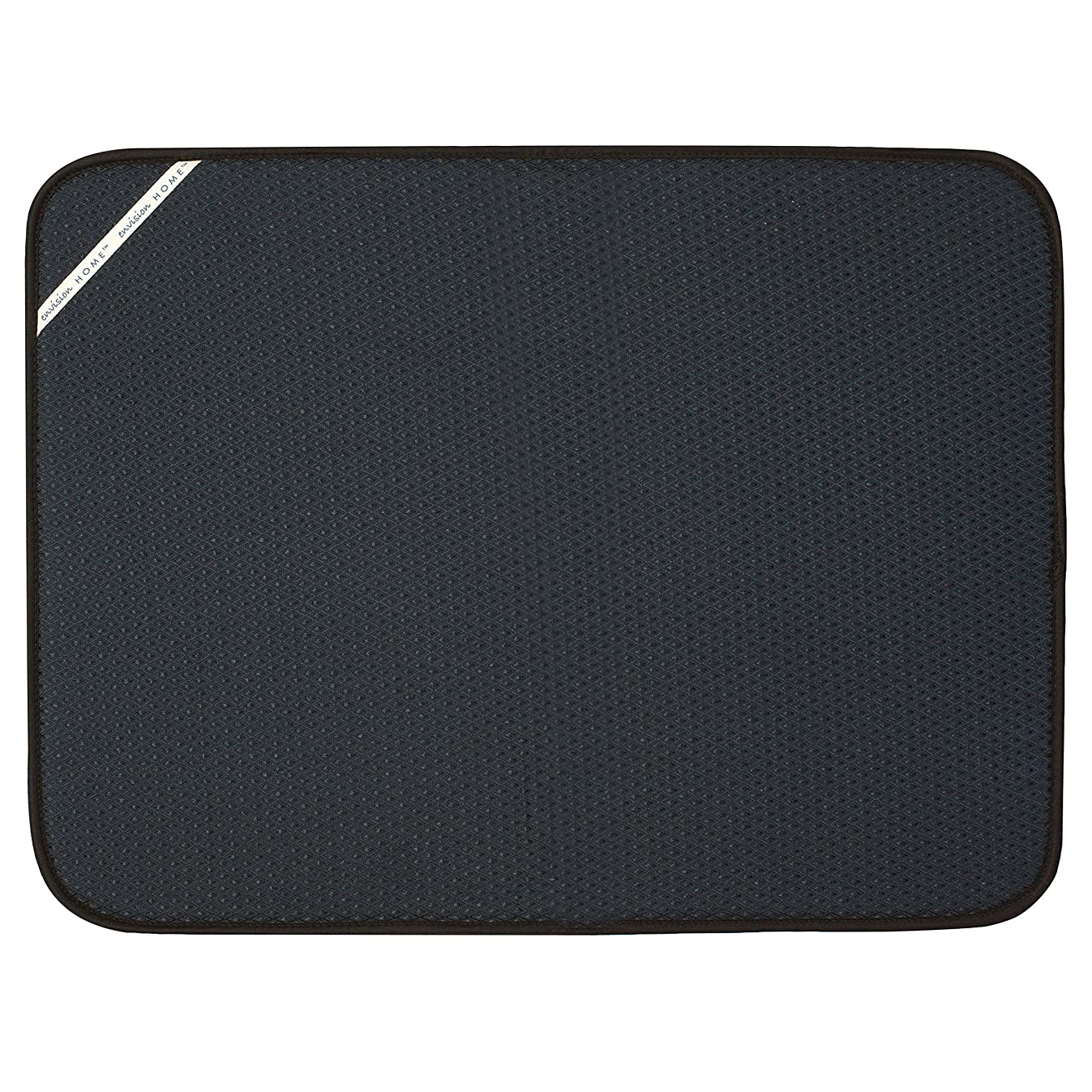 Envision Home 432801 18 24-Inch Microfiber Dish Drying Mat, X-Large, Black, XL,
