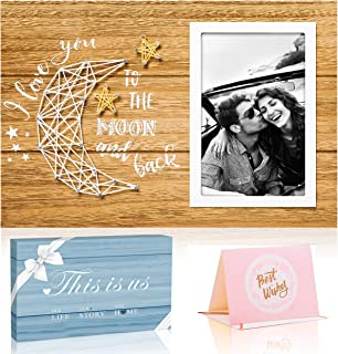 Picture Frame Gifts for Him Boyfriend Husband and Her Girlfriend Wife -I Love You to The Moon and Back- Birthday Gifts for...