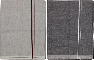 Prakasam Otton Men's Single (1.27 X 1.95 Meter) Colour Dhoti (L.C) Pack OF 2 (code-2/2)