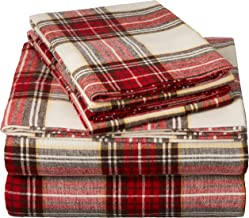 Pinzon Plaid Flannel Bed Sheet Set - Twin XL, Cream and Red Plaid