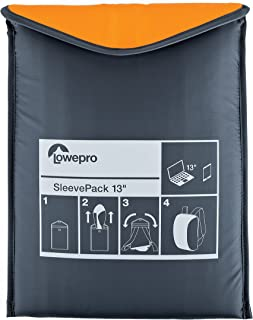 "Lowepro SleevePack 13. Convertible Laptop Sleeve Bag and Travel Backpack for 13"" Laptop. (Orange/Grey)."