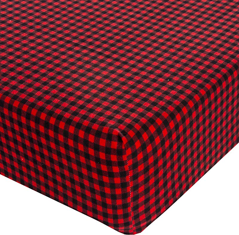 Glenna Jean Crib Fitted Sheet Flannel Check Red Black Mini