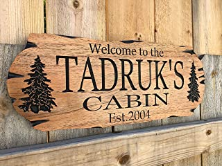 Personalized cabin sign Outdoor Sign Rustic Welcome Rustic Decor Family Wooden Sign