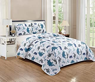 Better Home Style White Blue and Grey Dinosaur Dinosaurs Jurassic Park World Kids/Boys/Toddler 2 Piece Coverlet Bedspread Quilt Set with Pillowcases # Dino Kingdom (Twin)
