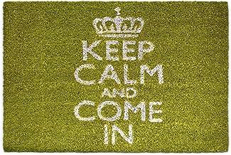 "Relaxdays Natural Coconut Fibre Coir Doormat ""Keep Calm and Come in"" Door Mat Welcome Mat w/ Anti-Slip Rubber PVC Undersid..."