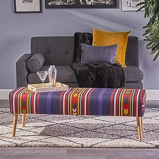 Christopher Knight Home 304459 Sade Mid Century Boho Fabric Ottoman, Purple Print