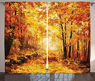 Ambesonne Country Curtains, Pale Shaded Autumn in The Forest Pastoral Calm Simple Life Nature Paint Away Art, Living Room Bedroom Window Drapes 2 Panel Set, 108