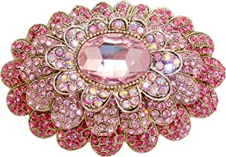 TTjewelry Sweet Pink 3 Layer Flower Austria Crystal Gold-Tone Large Brooch