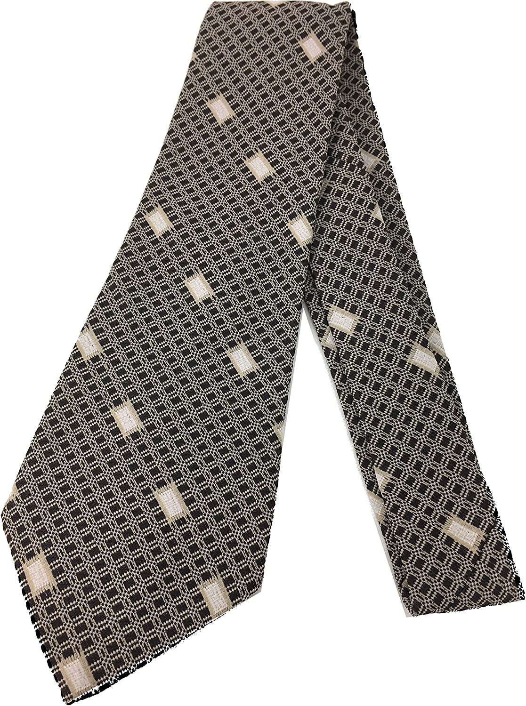 Check Square Geometry Tie - Vintage Jacquard Weave Wide Kipper Necktie (Black)