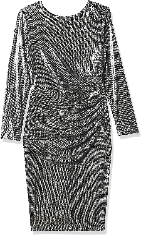 Dress the Population Women's Emilia Long Sleeve Stretch Sequin Drape Front Midi Sheath, Gunmetal, S
