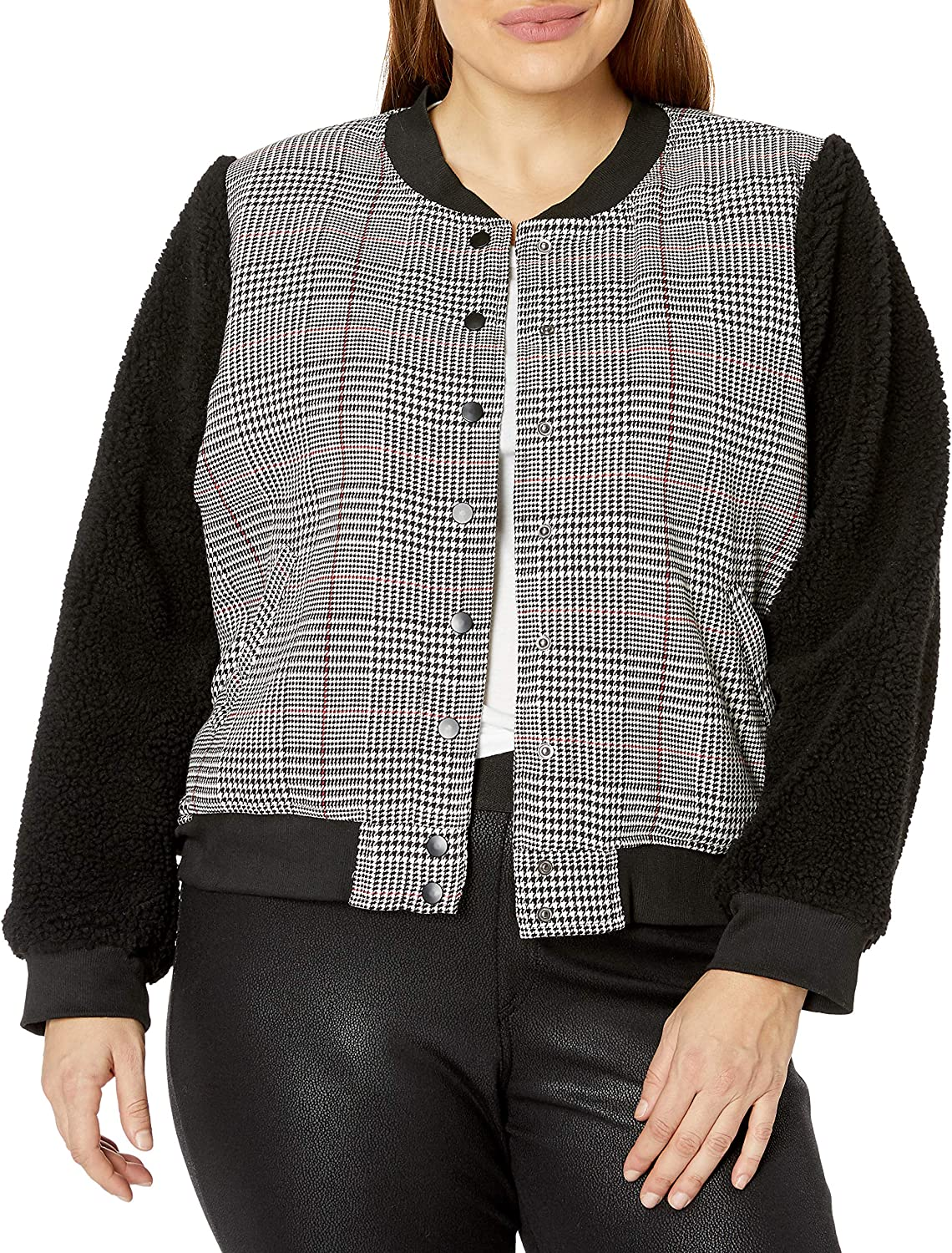 City Chic Women's Apparel Women's Buttoned Casual Jacket with Contrast Sleeve