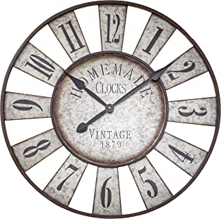 Iconic Farm Fair Game Wheel Clock, Vintage, Analog, Galvanized Metal, Quartz Movement, Over Sized Rustic Round, Over 2 Ft Diameter (28 3/4 Diameter ) Cordless, 1 AA Battery (Not Included) Shabby Style