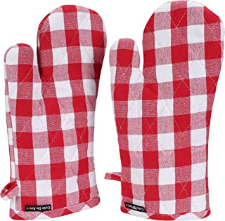 Cote De Amor Set of 2 Oven Mitts Gloves Bulk Heat Resistant Machine Washable, 100% Cotton Gingham Buffalo Check Plaid Oven Mitts for Everyday Kitchen Cooking Baking BBQ, Red White