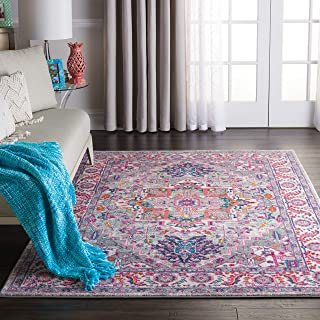 """Nourison PSN20 Passion Persian Colorful Light Grey/Pink Area Rug 3'9"""" X 5'9"""", 4' x 6'"""