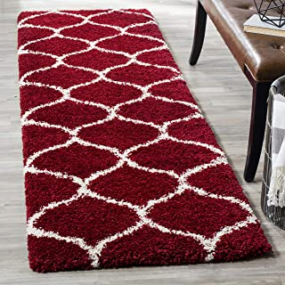 """Safavieh Hudson Shag Collection SGH280R Moroccan Ogee 2-inch Thick Runner, 2' 3"""" x 16', Red/Ivory"""