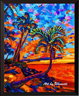 Uhomate Hawaii Beach Sunset Palms Paintings Wall Art Starry Night Painting Home Decor Canvas Art Print Poster Baby Gift Nursery Decor Wall Decor A172 (8X10)