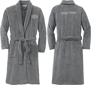 Personalized Plush Microfleece Robe Embroidered Front and Back, Smoke