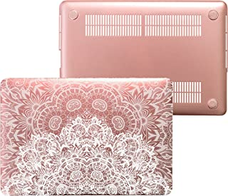 MacBook Air 13 Rose Gold Case Compatible with Apple - Plastic Hard Shell Snap On Case Cover for MacBook Air 13.3 inch (Only for Models: A1466 & A1369) (Double Lace White)