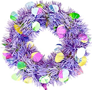 Easter Tinsel Wreath,Holographic Eggs,Plastic Frame,Hanging Circle.18 (Purple)