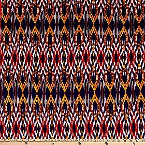 Fabric Merchants Splendid Apparel Rayon Spandex Jersey Knit Medium Ikat Navy/Coral Fabric