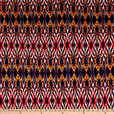 Fabric Merchants Splendid Apparel Rayon Spandex Jersey Knit Medium Ikat Navy/Coral Fabric