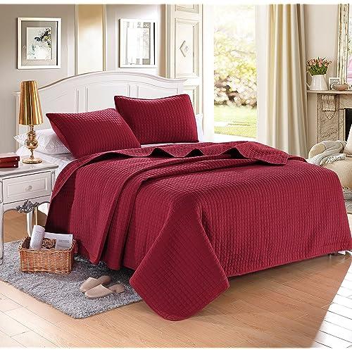 Burgundy Quilt Bed Set Amazon Com