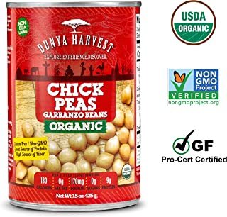 Dunya Harvest Canned Organic Chick Peas / Garbanzo Beans, Gluten Free and Non GMO Certified, 12 cans 15 ounces each