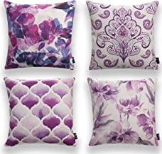 """Pumelo tree Throw Pillows Cover Purple Flowers Pack of 4 Cushion Case Set Cozy Burlap Pillow Cases for Home Decoration Sofa Bedroom 18"""" x 18"""" 45 x 45cm. (Pattern 6)"""