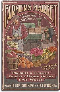 San Luis Obispo, California - Farmers Market Vintage Sign (10x15 Wood Wall Sign,